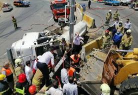 واژگونی تانکر ۶ هزار لیتری گازوئیل در تهران