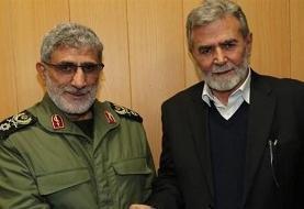 گفتوگوی تلفنی سردار قاآنی با دبیر کل جنبش جهاد اسلامی فلسطین