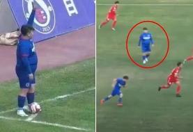 آقازاده چینی با ۱۲۶ کیلو به زور پول پدر فوتبالیست حرفه ای شد!