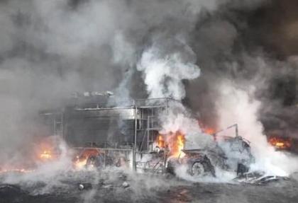 انفجار مهیب و آتش سوزی گسترده در کارخانه تاژ در قزوین