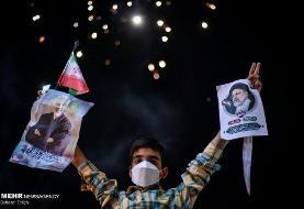 عکس | جشن پیروزی با تصویر حاج قاسم و رئیسی
