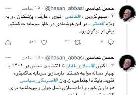 توئیت عجیب حسن عباسی در حمایت از خاتمی، کروبی، بهزاد نبوی، عارف و ...
