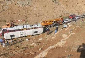 ویدئو | محل واژگونی اتوبوس حامل خبرنگاران