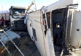 مسافران اتوبوس حادثه دیده در محور زاهدان - آباده سرباز معلم بودند (+فیلم صحنه تصادف)
