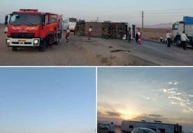 واژگونی اتوبوس مسافربری در سمنان