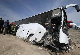 واژگونی اتوبوس در جاده سمنان به سرخه/ ۱۵ مصدوم