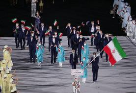 رژه کاروان ایران در افتتاحیه المپیک توکیو با لباس رسمی + تصاویر