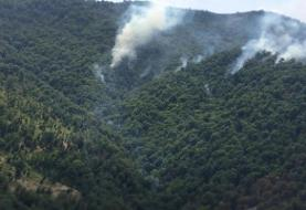 آتش سوزی جدید در منطقه جنگلی جمهوری آذربایجان در مرز ایران
