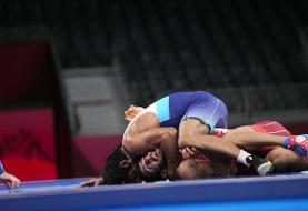 المپیک ۲۰۲۰/  قیاسی ضربه فنی  شد